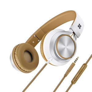 Promate 'Spectrum' Universal Over-Ear Wired Headset with soft headband cushion, Metal headband-Brown