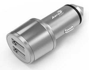 Aerocool ASA RC2002A High Speed Car Charger Aluminium Stainless 2 USB Ports, 5V/2.4A, 5V3.1A