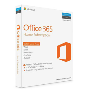 Microsoft Office 365 Home, 1 Year Subscription, 5 Devices, 32bit/64bit, Medialess, PC & Mac