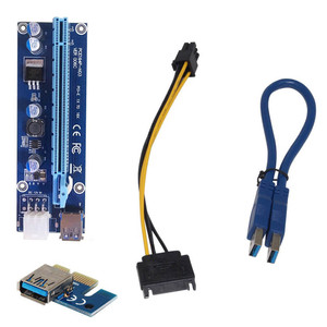 USB 3.0 PCI-E Express 1x To16x GPU Extender Riser Card Adapter Power Cable