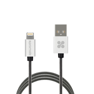 Promate MFi Certified Heavy-Duty Mesh-Armored Sync & Charge USB Cable 2M- Silver