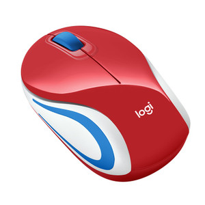Logitech Wireless Mouse M187 Mini, 3 Button, USB Receiver - Red