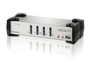 Aten 4 Port USB KVMP Switch with audio and OSD / USB 2.0 Hub - Cables Included