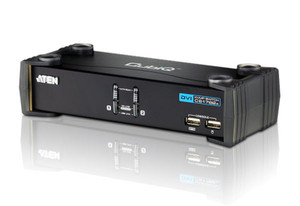 Aten 2 Port USB DVI KVMP Switch w/ USB 2.0 Hub and Audio - Cables Included