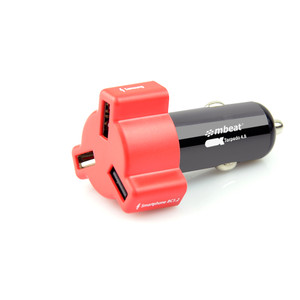 mbeat 4.8A 24W Triple-port Rapid Red Car Charger
