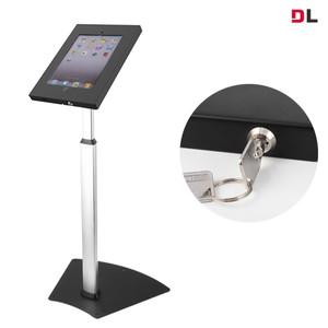 Brateck Anti-Theft Secure Enclosure Floor Stand for iPad 2, iPad 3, iPad 4, iPad Air & iPad Air 2 - Black with Adjustable Height Function