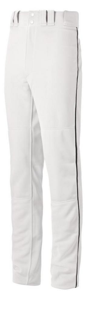 Mizuno Full Length Pant - White W/ BLACK, NAVY, ROYAL, SCARLET PIPE