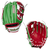 """WILSON A2000 - WBW1000___115 - 11.50"""" RHT BASEBALL GLOVE - COUNTRY  PRIDE - MEXICO"""
