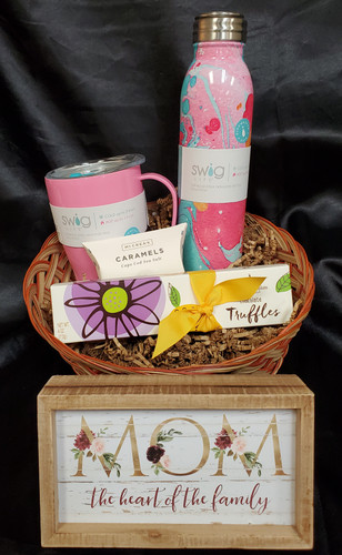 Perfect for Mothers day or Mom's Bday! Includes a water bottle, coffee mug, mom sign ( may vary mom related) caramels,& box of chocolates