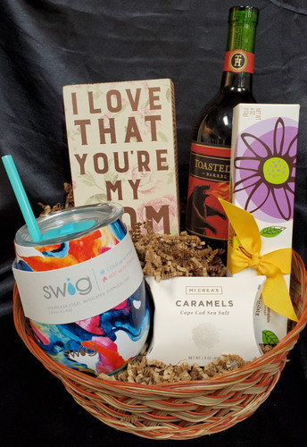 When you just Love your Mamma!  Includes Choice of red or white wine, wine cup, chocolates, caramels, mom sign (may vary- mom related)