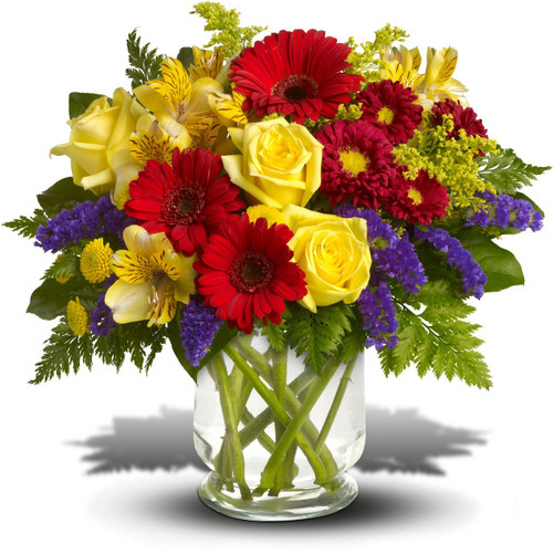 You'll want to put this colorful bouquet on your hit parade of gifts to send. Bold primary colors and a perfect mix of flowers make it great for men and women of all ages. In other words, it's a perfect arrangement.