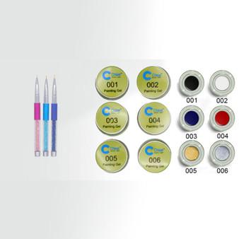 Chisel Painting Gel Kit - 6 Color x 10 ml/color + 3 Design 3D Brushes