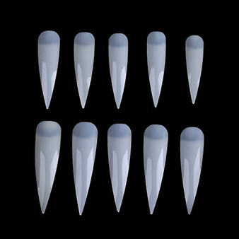 MS 500 Pcs Long Sharp Nail Art Tips Natural ( From size 0 to 9)