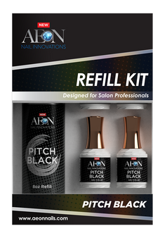 Aeon Pitch Black  Gel Refill 8oz + 4 Free Small Gel 0.5oz