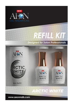 Aeon Arctic White  Gel Refill 8oz + 4 Free Small Gel 0.5oz