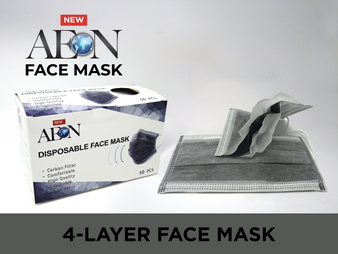 Aeon Disposable Face Mask 4 Layers - Grey ( Box of 50 pcs )