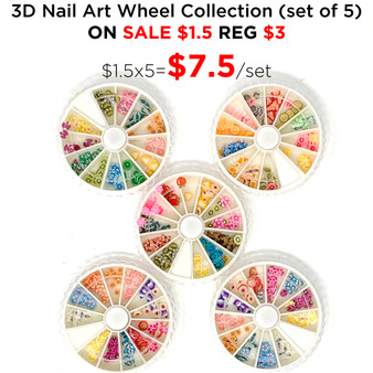 3D Nail Art Wheel Collection (set of 5)
