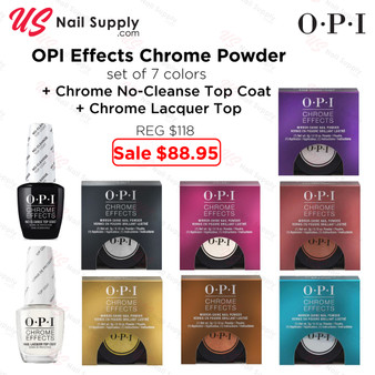 OPI Effects Chrome Powder set of 7 colors + Chrome No-Cleanse Top Coat + Chrome Lacquer Top
