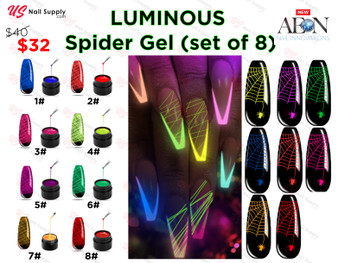 Aeon Spider Gel Glow In The Dark (set of 8) + Free 3 Design Brushes