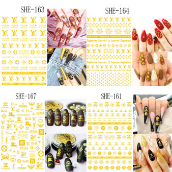 Nail Sticker Brand Name Gold Color