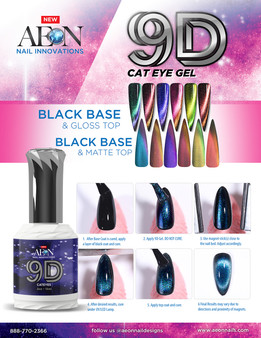 Aeon Gel 9D Cateye ( Set of 6 ) + Free 1 Aeon Pitch Black Gel 0.5 Oz