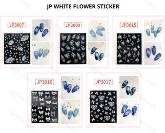 JP WHITE FLOWER STICKER