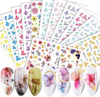 3D FLOWER STICKERS 14PCS/SET XF3022-45