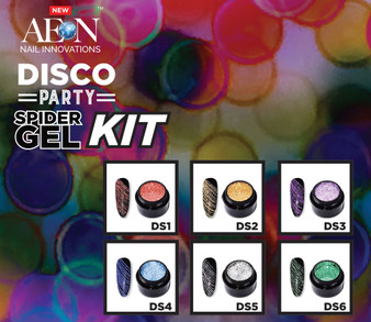 Aeon Spider Gel Party Disco 6 Colors + 3 Liner Brushes