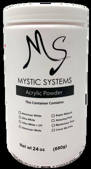MS Mystic Systems Acrylic Powder Ultra White + UV 24oz