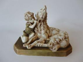 Marple Antiques Royal Dux Figure of Boy and Dog