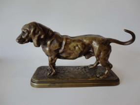 Marple Antiques  Antique Bronze Basset Hound After Alfred Louis Barye