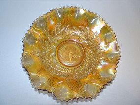 Australian Crown Crystal Carnival glass master bowl in cuckoo shrike pattern circa 1920s.