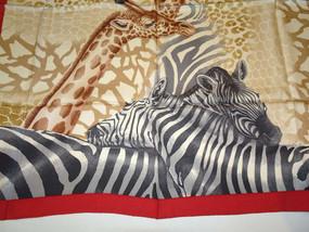 scarves Vintage Salvatore Ferragamo Giraffe and Zebra Print Silk Scarf