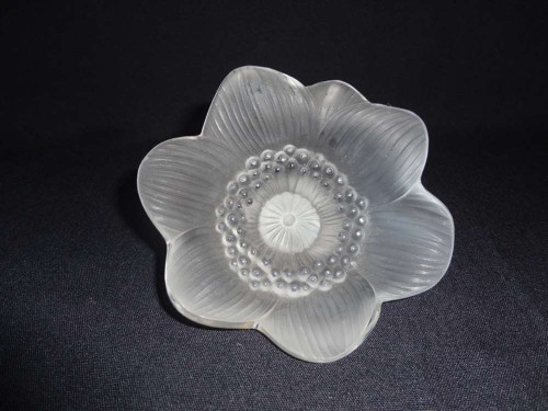 Marple Antiques Lalique Clear and Frosted Crystal Anemone Flower Paperweight
