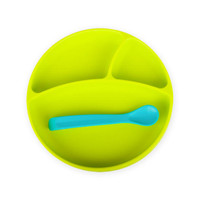 BBLuv Miam Silicone Plate & Spoon Set - Lime