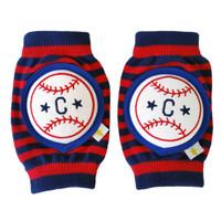 Crawlings Baby Knee Pad - Baseball Red Stripes