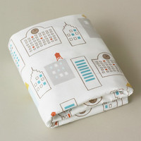 DwellStudio Skyline Light Blue Fitted Crib Sheet