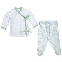 Under The Nile Newborn Hello Goodbye Side Tie Layette Set - Sage - 0-3 Months