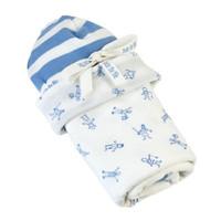 Under The Nile Stroller Blanket & Hat Gift Set - Boy People Print