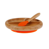 Avanchy Bamboo Stay Put Suction Divided Plate - Orange