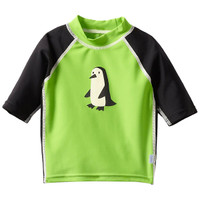 i play. Mod Three-Quarter Sleeve Rashguard - Green Penguin-1