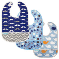Kushies Cleanbib - Crazy Circles 2 / Blue Whales / Navy Mustache 3pk-1