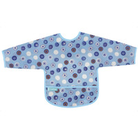 Kushies Cleanbib with Sleeves - Blue Crazy Circles 2-1