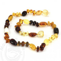 Momma Goose Baby Amber Teething Necklaces - Olive & Baroque Unpolished (M)-1