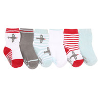 Robeez Aviator Games Baby Socks 6 Pack - Red-1