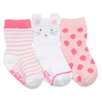 Robeez Mousey Baby Socks 3 Pack - Pink-1