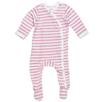 Under The Nile Side Snap Footie - Blush/Off White Stripe-1