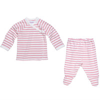 Under The Nile Side Snap Layette Set - Blush/Off White Stripe-1