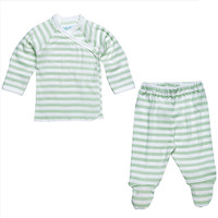 Under The Nile Side Snap Layette Set - Sage/Off White Stripe-1