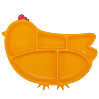 Innobaby Din Din SMART Silicone Suction Divided Plate - Chicken/Yellow-1